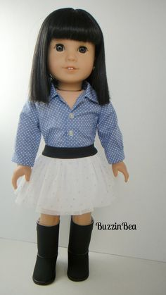 Light Blue and White Polka Dot Button Up Shirt & White Tulle Skirt by BuzzinBea on Etsy      $26.00