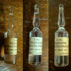 Procaine hydrochloride (also known as novocaine) ampules / vials still sealed Old Teddy Bears, Funny Products, War On Drugs, Emergency Medicine, Its All Good, Medical History, Pharmacy, Apothecary, Darkness