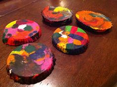 Make Rainbow Crayons (old pieces of crayons + muffin tin)