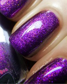 Colors by Llarowe: Valentine Collection 2014. The Sweetest Thing is a blurple (blue-purple) crelly with a violet purple glow and red, green, copper and blue shimmers/sparks.