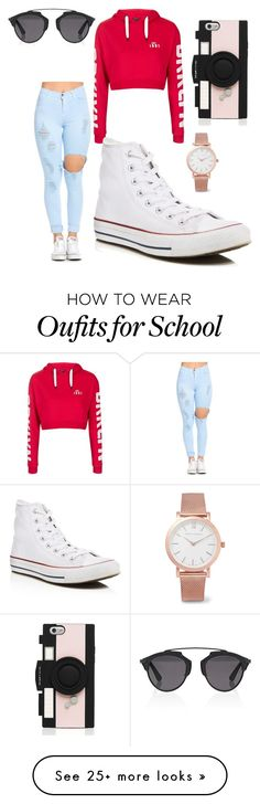 """school day"" by nykeriaj on Polyvore featuring Topshop, Christian Dior, Kate Spade, Converse and Larsson & Jennings"