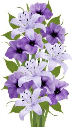 Purple Decorative Bouquet PNG Clipart in category Flowers PNG / Clipart - Transparent PNG pictures and vector rasterized Clip art images.Photo from album Лилии on Yandex. Clip art is a great way to help illustrate your diagrams and flowcharts. Flower Bouquet Png, My Flower, Flower Art, Flower Images, Flower Pictures, Art Floral, Exotic Flowers, Beautiful Flowers, Purple Lily
