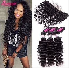 Brazilian Deep Wave With Closure Ear To Ear Lace Frontal Closure With Bundles 3 And 4 Virgin Brazillian Human Hair With Closure Deep Wave Brazilian Hair, Brazilian Hair Bundles, Brazillian Curly Weave, Curly Weaves, Weave Styles, Lace Closure, Lace Frontal, Human Hair Extensions, Virgin Hair
