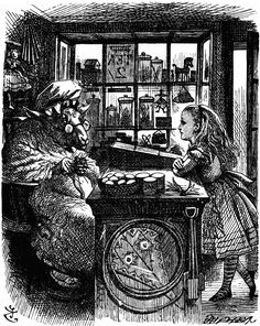 "Alice visits the Sheep Shop in Lewis Carroll's ""Through the Looking Glass."" Illustration by artist John Tenniel."