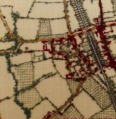 Embroidery Map, Map Quilt, Fantasy Map, Landscape Quilts, Sewing Art, Blue Quilts, Fabric Art, Textile Art, Fiber Art