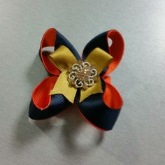Navy/Orange/Gold bow