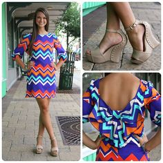 Nude block heels  and bright patterned dress