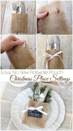 Christmas Place Settings {Easy, No-Sew Flatware Pouch) – Lov.- Christmas Place Settings {Easy, No-Sew Flatware Pouch) – Love of Family & Home Christmas Place Settings {Easy, No-Sew Flatware Pouch] – Love of Family & Home – - Noel Christmas, Rustic Christmas, Winter Christmas, All Things Christmas, Xmas, Burlap Christmas Crafts, Christmas Movies, Simple Christmas, Christmas Wedding
