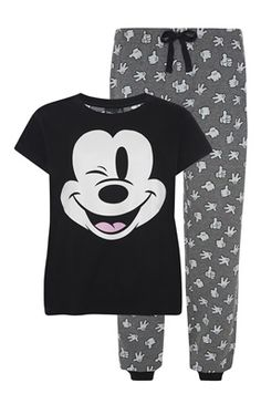 Black and Grey Mickey Mouse PJ Set