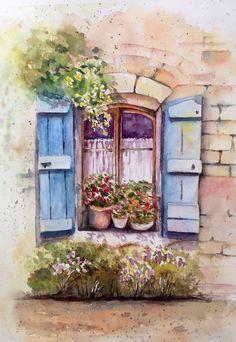 Old window-- watercolor on paper by Mahjabin GG