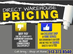 Direst Warehouse Pricing on carpeting and flooring.