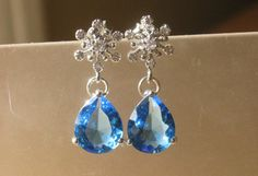 Sapphire Snowflake Earrings by 310jewelry on Etsy, $35.00