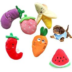 Rimobul Squeaky Plush Pet Toy My Favorite Food Family  Pack of 6 -- More info could be found at the image url.