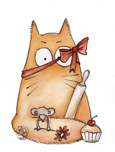 Happy mothers day by Maria-van-Bruggen Silly Cats, Cats And Kittens, Funny Cats, I Love Cats, Crazy Cats, Cute Cats, Image Chat, Cat Character, Animal Sketches