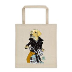 Tote bag 12 Oz. cotton canvas - Dog James Dean on a Vintage Triumph motorcycle motif.  #tote_bags #cotton_bags #bio #organic #vintage #leather_jackets #golden_retreiver #triumph_motorcycles #vintage_motorcycles #james_dean #dogs #films