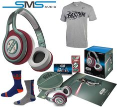 SMS Audio STREET by 50 First Edition Star Wars On Ear Headphones (Boba Fett ) Sport Bundle w/ Star wars Socks and Nike T Shirt