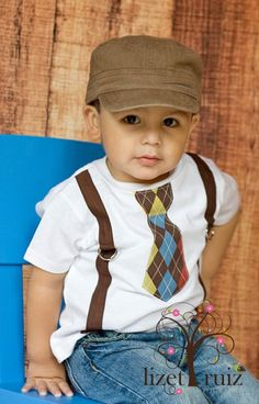 Brown Argyle Tie with Suspenders Toddler Shirt by bkchicboutique, $24.00