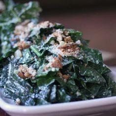Vegetarian Kale Caesar Salad With Roasted Garlic Dressing