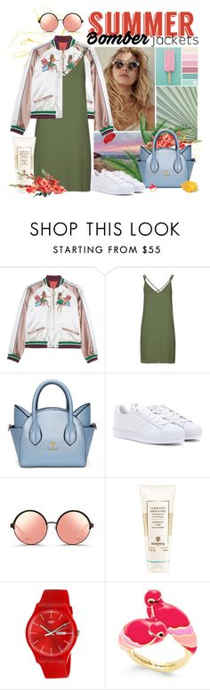 """""""Summer Bomber Jackets"""" by gokarm ❤ liked on Polyvore featuring Topshop, adidas, Matthew Williamson, Sisley, Swatch, Kate Spade and bomberjackets"""