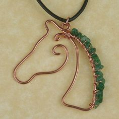 Copper Wire Wrapped Horse Head Pendant by SerenityWoodsCrafts
