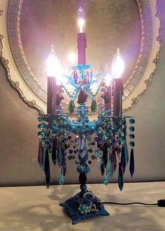 Bohemian Five Light Jeweled Candelabra Table Chandelier Teal