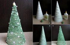 weihnachtsbaum basteln garn klebestoff schneeflocken