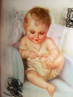 """Charlotte Becker 9"""" Lithograph """"THIS LITTLE PIGGY"""" Reverse Painted Convex Frame on Ruby Lane"""