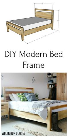 Build your own Simple Modern Wooden Bed Frame with these plans! It's a simple design that's easy to build, and even has a matching nightstand plan as well! Modern bedroom suite you can build yourself with these simple plans. Diy Modern Bed, Modern Wooden Bed, Modern Bedroom, Wooden Bed Frame Diy, Diy Bed Frame, Wooden Queen Bed Frame, Diy Platform Bed Frame, Wooden Beds, Diy Home Decor Easy