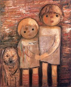 Two Children with a Dog oil painting by Tadeusz Makowski, The highest quality oil painting reproductions and great customer service! Amazing Paintings, Amazing Art, Oil Paintings, Beauty In Art, Oil Painting Reproductions, Beautiful Drawings, Types Of Art, Graphic Art, Graphic Design