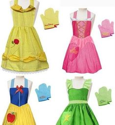 Disney Princess Aprons would be cute for dress up stuffso it's easier for little kids to dress and undress and it can go on right over their clothes Disney Princess Aprons, Disney Aprons, Diy Disney Princess Costumes, Disney Princesses, Sewing Hacks, Sewing Crafts, Diy Crafts, Sewing Aprons, Disney Outfits