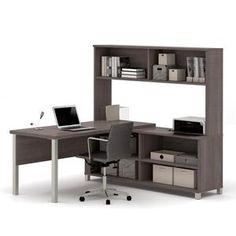 Pro-Linea L-Desk with hutch in Bark Grey 120862-47 #Bestar #Bestar1948