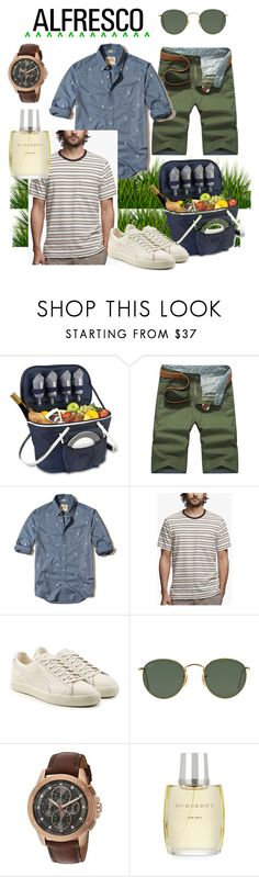 """""""El aire libre #alfrescodining"""" by onetwobluebee ❤ liked on Polyvore featuring Thos. Baker, Hollister Co., James Perse, Puma, Ray-Ban, Michael Kors, Burberry, men's fashion and menswear"""