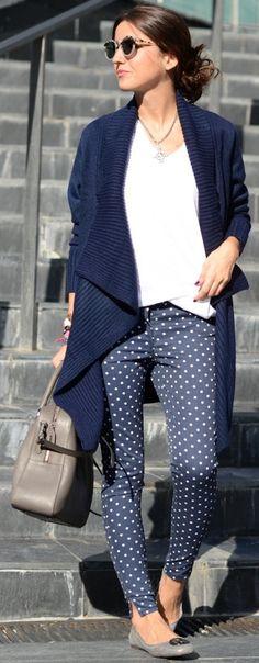 cute outfit #polka pants #denim # blue