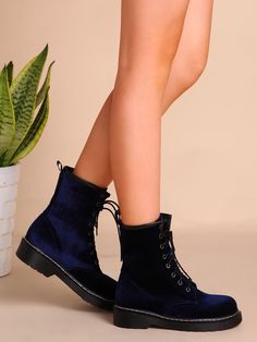 Shop Velvet Lace Up Short Boots NAVY online. SheIn offers Velvet Lace Up Short Boots NAVY & more to fit your fashionable needs.