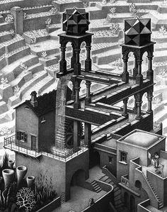 Waterfall by M.C. Escher. Surrealism. capriccio
