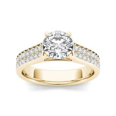 De Couer 14k Yellow Gold 1 1/2ct TDW Diamond Classic Engagement Ring (H-I, I2) (Size-6.5), Women's, Size: 6.5