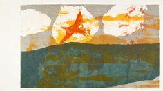 bird flaming into sun | serigraph | Sister Mary Corita Kent