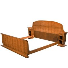 Early 20th Century Art Deco Birchwood Bed | From a unique collection of antique and modern bedroom furniture at https://www.1stdibs.com/furniture/more-furniture-collectibles/bedroom-furniture/