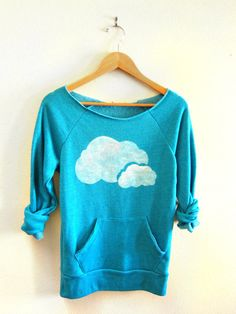 Double Clouds HAND STENCILED Deep Scoop Neck by twostringjane
