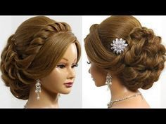 Вечерняя прическа для длинных волос. Wedding prom hairstyle - YouTube