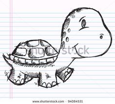 Notebook Doodle Sketch Turtle Drawing Vector Safari Wildlife Illustration Animal - stock vector