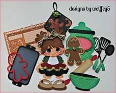 ELITE4U GIRL GINGERBREAD BAKE paper pieced premade scrapbook page album WOLFFEY5