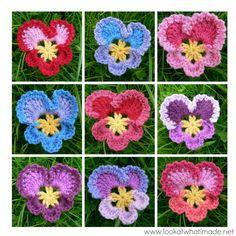 Grannys Crochet Pansy . ☀CQ #crochet #crochetflowers  http://www.pinterest.com/CoronaQueen/crochet-leaves-and-flowers-corona/