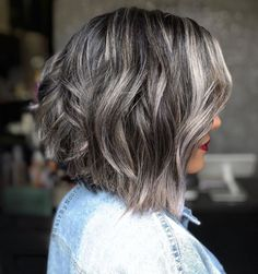 Thick Textured Dark Brown And Silver Bob