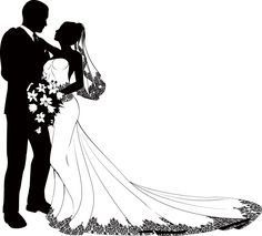 Bride and groom silhouette Bride And Groom Silhouette, Wedding Silhouette, Silhouette Painting, Silhouette Vector, Black And White Drawing, Wedding Invitation Templates, Free Vector Art, Photo Illustration, Image Now