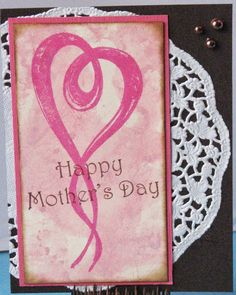 Brushed Heart Mother's Day Card - IMAGINE Crafts featuring Tsukineko - Monoprinting & Stamping with Memento Luxe Inks; Just For Fun stamps