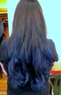 Black to blue ombré hair
