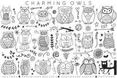 Charming Owls - Brushes - 1