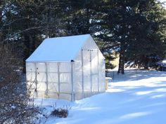 Crystal clear greenhouse glazing dressed up with white in northeast USA. http://www.palramapplications.com/harmony-clear-glazing/