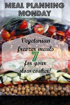 meal planning easier by batch freezing recipes that cook in your slow cooker!Make meal planning easier by batch freezing recipes that cook in your slow cooker! Vegetarian Freezer Meals, Slow Cooker Freezer Meals, Vegetarian Meal Prep, Slow Cooked Meals, Vegetarian Recipes Easy, Veggie Recipes, Slow Cooker Recipes, Whole Food Recipes, Cooking Recipes